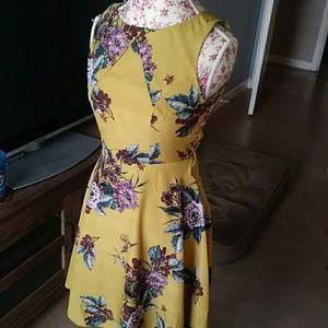 Modcloth mustard floral dress
